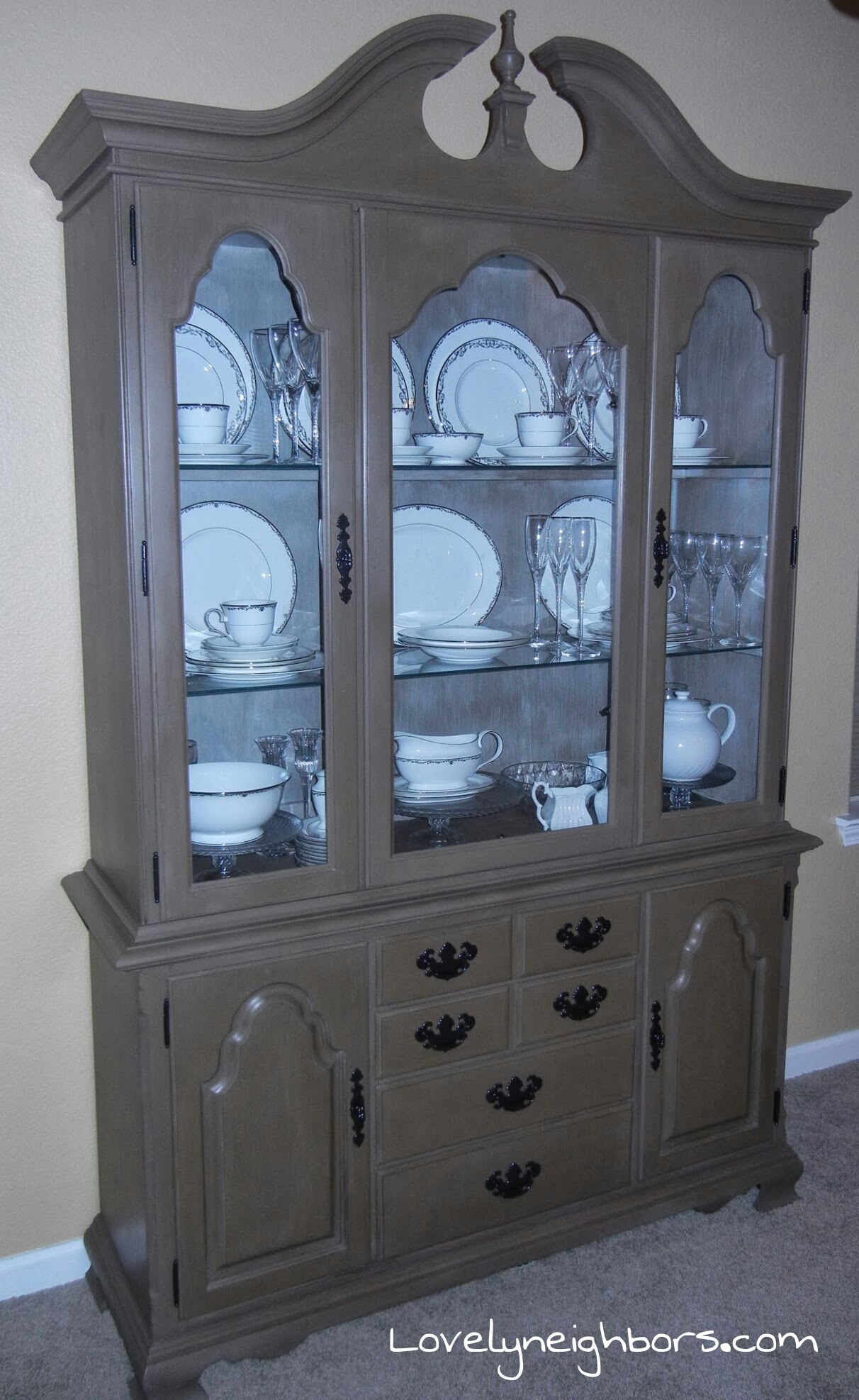 Lovely Neighbors Chalk Painted China Cabinet Lovely Neighbors Chalk Painted  China Cabinet