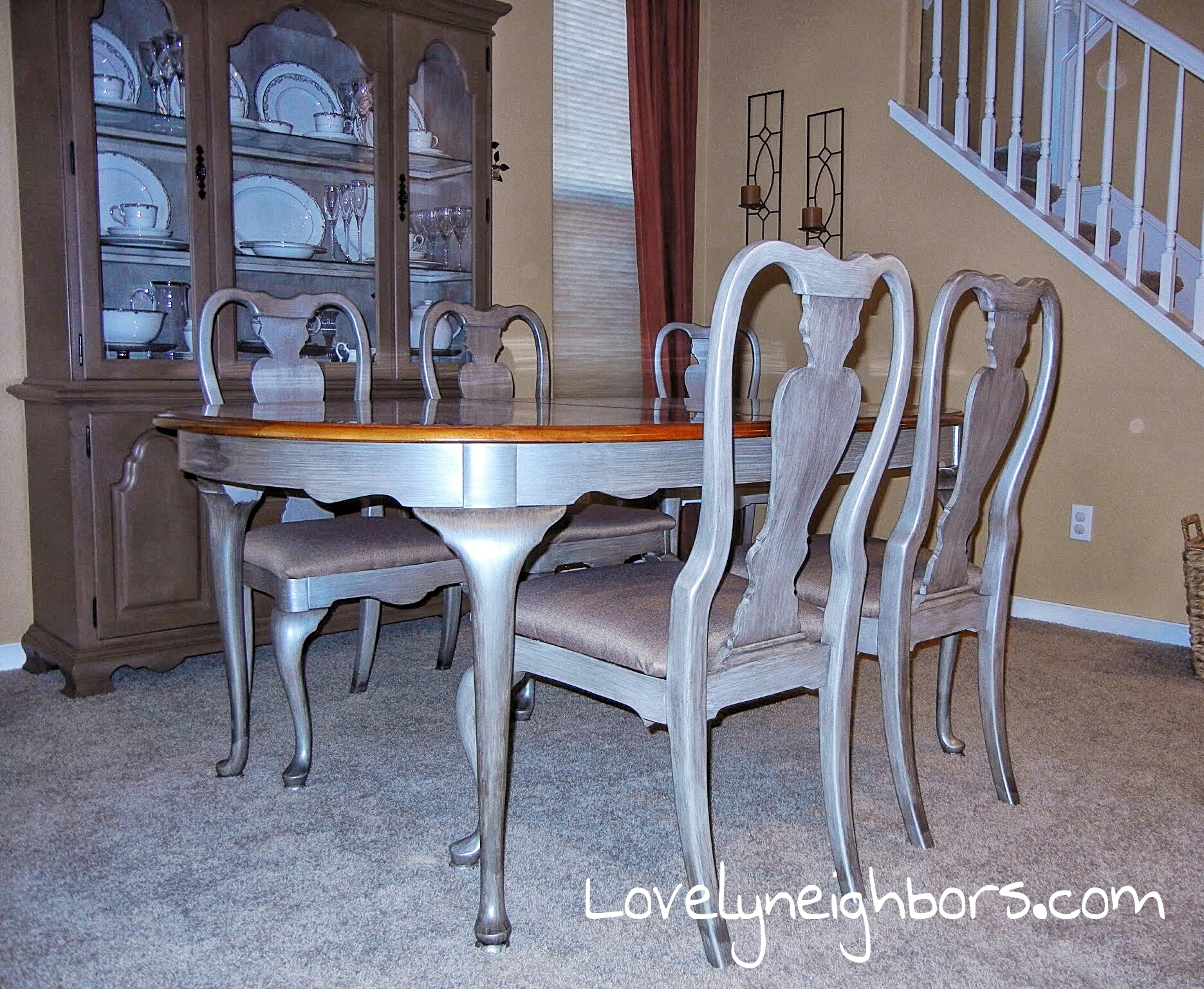 Metallic dining table and chairs