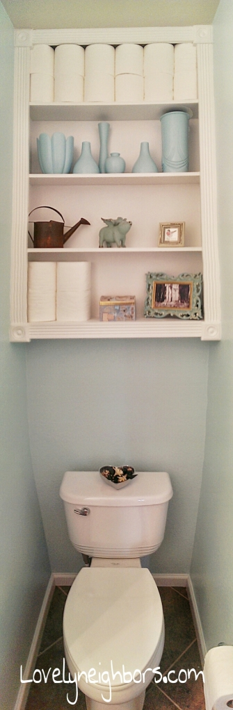 Lovely Neighbors - Over the toilet powder room storage. Such a smart use of space!