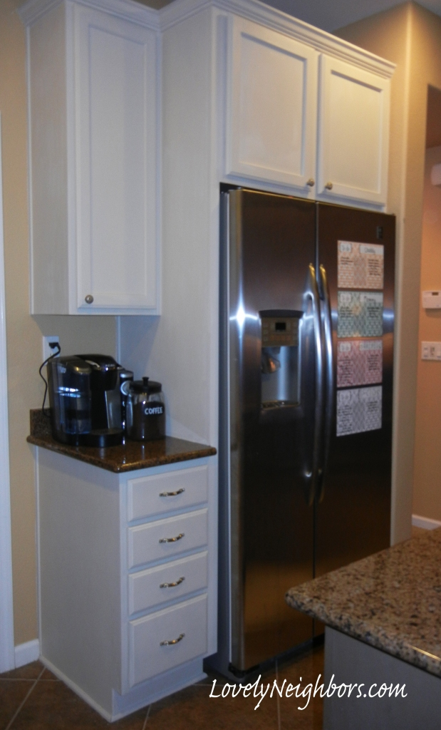 Lovely Neighbors- Chalk Painted Kitchen Cabinets. I love white cabinets!