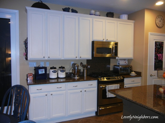 Lovely Neighbors Chalk Painted Kitchen Cabinets with homemade chalk paint.