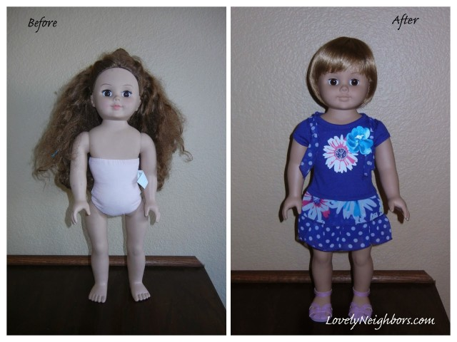 Thrift store doll cleaned, makeup removed, and a new wig.  Giving new life to used toys!